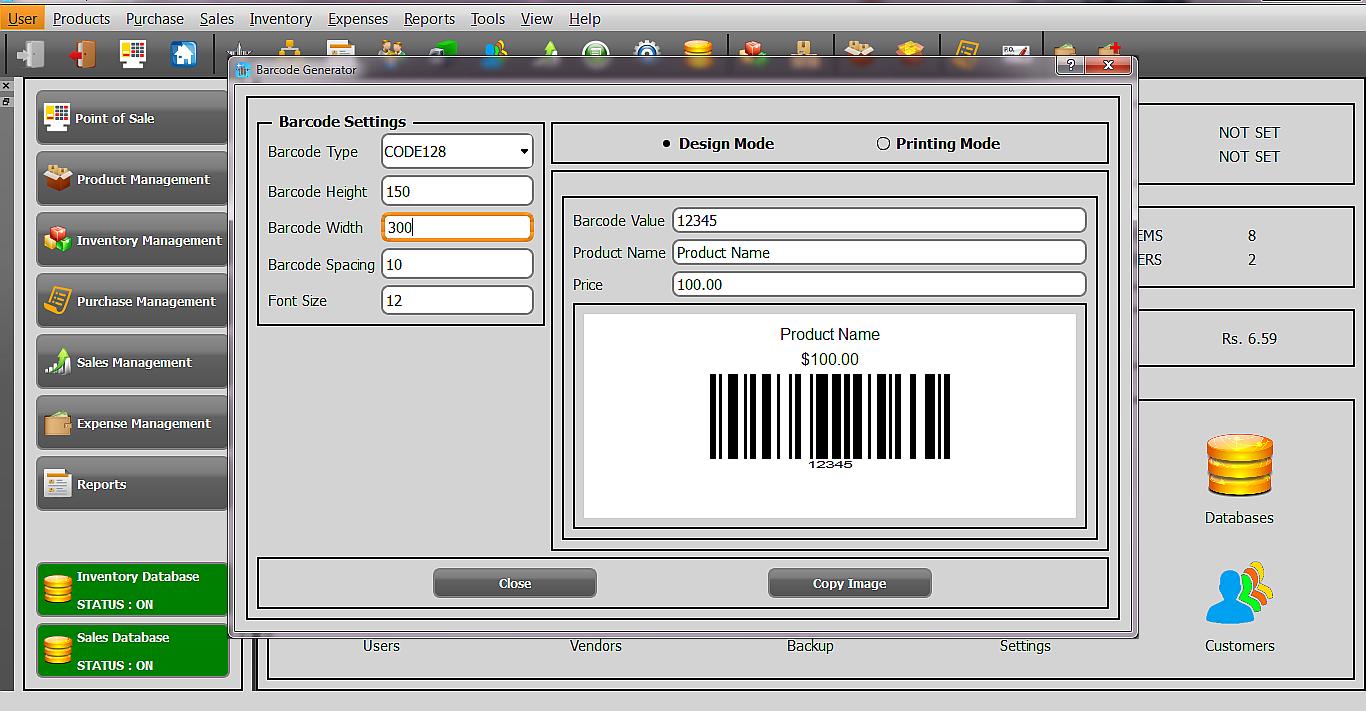Asaan POS barcode designer