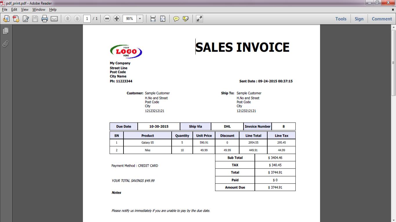 Asaan POS sales invoice